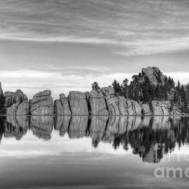 Sylvan Lake Reflections Black And White by Mel Steinhauer