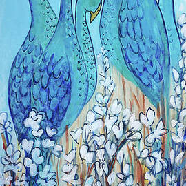 Tall Teal Birds by Holly Carmichael