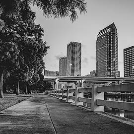 Tampa Florida Riverwalk View In Monochrome by Gregory Ballos