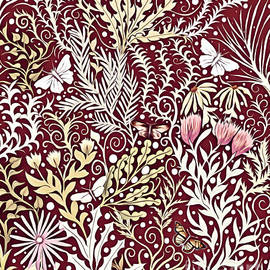 Tapestry Design, With White Butterflies, In A Deep Rich Red by Lise Winne