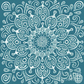 Tapestry Square 24 Sea Creature Blue by Amy E Fraser