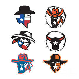 Texas Outlaw Mascot Collection by Aloysius Patrimonio