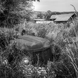The Abandoned Tractor Black And White by TL Mair