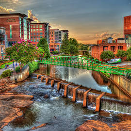 The City River Sundown Reedy River Falls Park Greenville South Carolina Art by Reid Callaway
