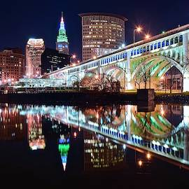 The CLE Reflecting in the Cuyahoga by Frozen in Time Fine Art Photography