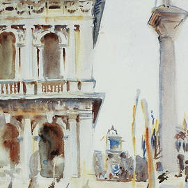 The Corner of the Libreria, with the Column of St Theodore, Venice, 1904 by John Singer Sargent