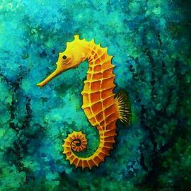 the gold Seahorse by Samra Art