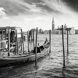The Gondola Stop Venice Italy Black and White by Carol Japp