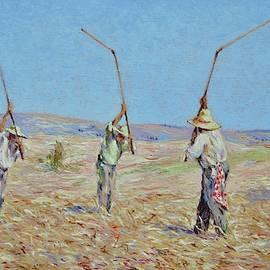 The Haymakers - Pierre van Dijk 70x90cm oil by Pierre Dijk