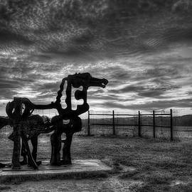 The Iron Horse Sun Up 8 B W University of Georgia Iron Horse Farm Agriculture Landscape Art by Reid Callaway
