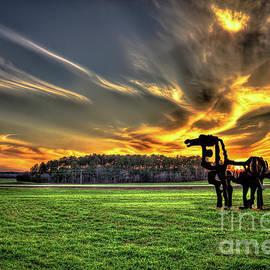 The Iron Horse Sunset 777 U G A Farming Landscape Art by Reid Callaway