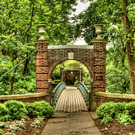 The kissing bridge at Rutgers University Cook/Douglas Campus by Geraldine Scull