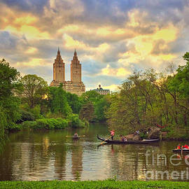 The Lake at Dusk with Gondola - Central Park New York by Miriam Danar