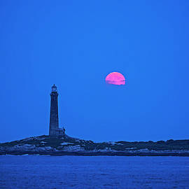 The Moon Rises Over Thacher Island Lighthouse Rockport Ma 2 by Toby McGuire