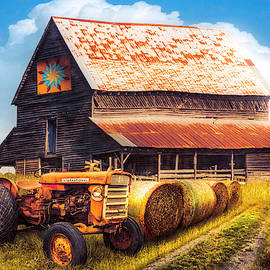 The Old Quilt Barn Autumn Painting by Debra and Dave Vanderlaan