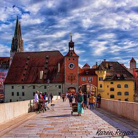 The Old Stone Bridge Regensburg Germany by Karen Regan