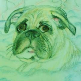 The Pug in the Tub by Christy Saunders Church