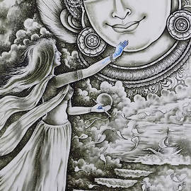 The Radhas Touch Of Blue, Sree Krishna Painting by Asp Arts