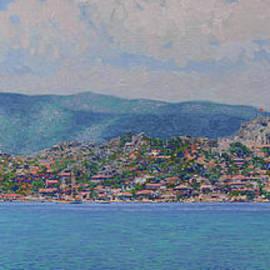 The Simena harbor. View of the the old fortress Kalekoy. Turkey by Simon Kozhin