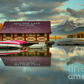 The Start Of Sunset At Maligne Lake by Adam Jewell