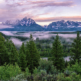 The Tetons On Snake River At Sunrise - Grand Teton National Park Wyoming by Brian Harig