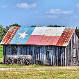 The Wagon And Texas Roof Barn by JC Findley