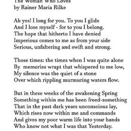 The Woman Who Loves By Rainer Maria Rilke by Siobhan Dempsey