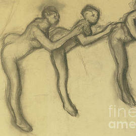 Three Dancers In Tights, Detail  by Edgar Degas