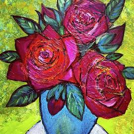Three Roses In The Blue Vase On The White Round Table  by Jean Fassina