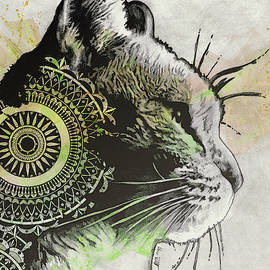 Tides Of Tomorrow - Lime - mandala cat drawing by Marco Paludet