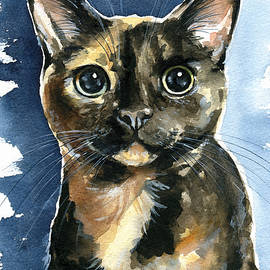 Tiffany Tortoiseshell Cat Painting by Dora Hathazi Mendes