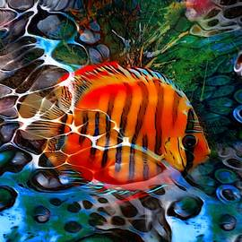 Tiger Discus Abstract Portrait by Scott Wallace Digital Designs