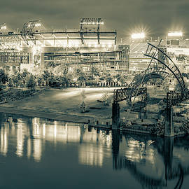 Titans Football Stadium On The River - Nashville Tennessee Sepia by Gregory Ballos