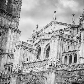 Toledo Spain Cathedral Facade Bw by Joan Carroll