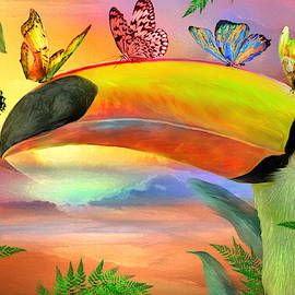 Toucan And Butterflies by Carol Cavalaris