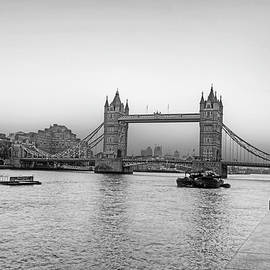 Tower Bridge At Sunset London Uk United Kingdom England Black And White by Toby McGuire