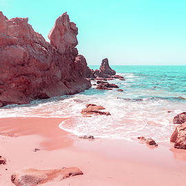Transcending Reality - Beachscape in Coral Pink and Turquoise by Georgia Mizuleva