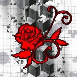 Trash Polka Art Red Rose by Sarah Niebank