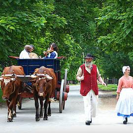 Traveling Musicians in Ox Cart by Marilyn DeBlock