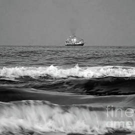 Trawler On The Horizon Bw by D Hackett