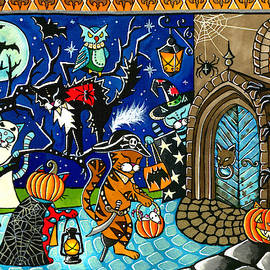 Trick Or Treat Halloween Cats by Dora Hathazi Mendes