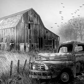 Truck in the Fog in Black and White by Debra and Dave Vanderlaan