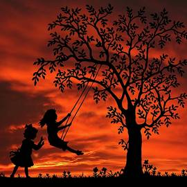 Try To Remember Girls With Swing Sunset Silhouette Series   by David Dehner
