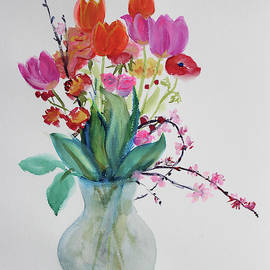 Tulips and Plum Blossoms by Asha Carolyn Young