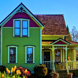 Tulips And Victorian House by Garry Gay