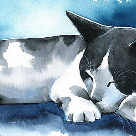 Tuxedo Dream Cat Painting by Dora Hathazi Mendes