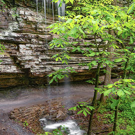 Twin Falls Right In Devils Den State Park by Gregory Ballos