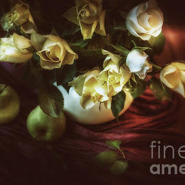 Two Apples And Cream Roses by Flo Photography