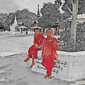 Two Buddhist Novices in Myanmar by Gabriele Pomykaj