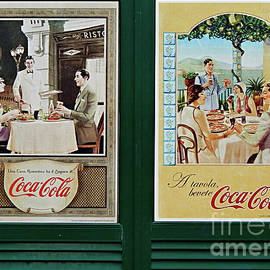Two Vintage Italian Coca Cola Posters by Peter Horrocks